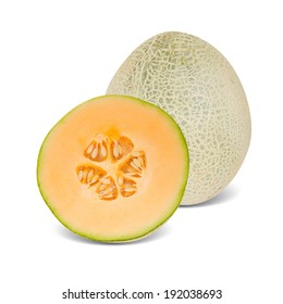 Photo of canteloupe melon with slice isolated on white