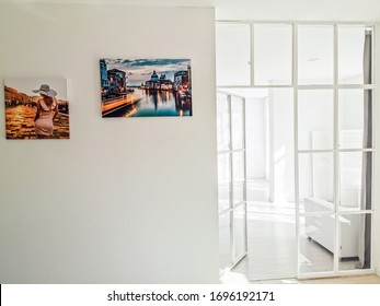 photo canvas hanging on the grey wall background