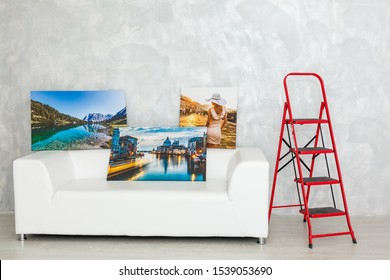 photo canvas lying in the house on the couch