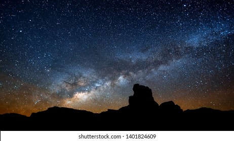 Photo of the canyon and a starry sky