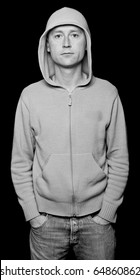 photo capture of male with hoodie staring out