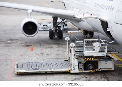 Photo of a cargo unloading process in the airport