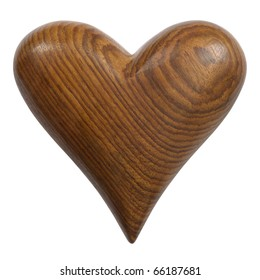 Photo of a carved wooden heart, isolated on a white background. Two photos merged for large file. Clipping path included.