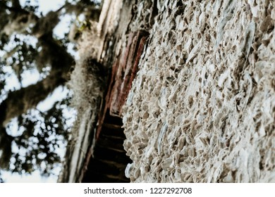 A Photo of the Chapel Of Ease, located on St. Helena Island. A true low country gem, showing off its architecture. Built by tabby, with glimpse of some brick, elegantly covered by Spanish moss.