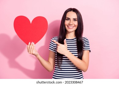 Photo of charming affectionate young woman point finger big paper heart isolated on pink color background