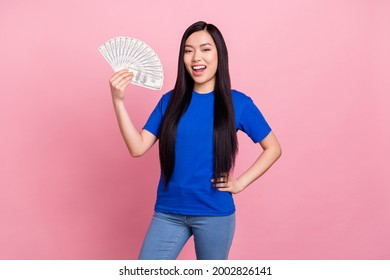Photo of cheerful young positive woman hold hands money profit waist isolated on pastel pink color background