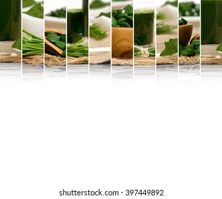 Photo of chlorella and young barley grass abstract mix slices; healthy eating, dieting and detoxication concept; white space for text