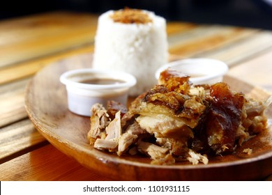 Photo of chopped roasted pork or pig known in the Philippines as Lechon and garlic rice