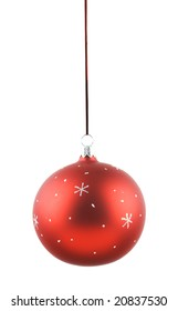 Photo of Christmas decorations over white background