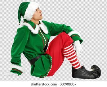 photo of christmas elf with saved path