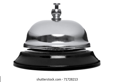 Photo of a chrome reception bell isolated on a white background.