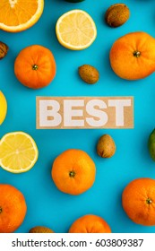 Photo of citrus fruits, lemons, oranges, limes, mandarines, nuts, view from above, cyan background, isolated