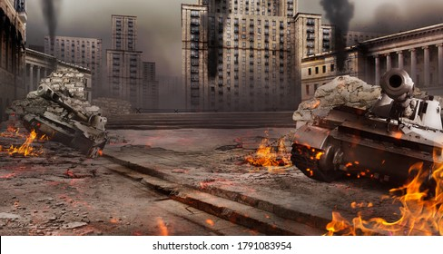 Photo of a city war battlefield background with burning tanks and destructed buildings.