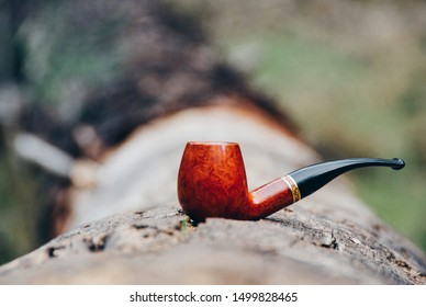 A photo of a classic brown tobacco pipe sitting on a tree trunk in Mount Diablo.