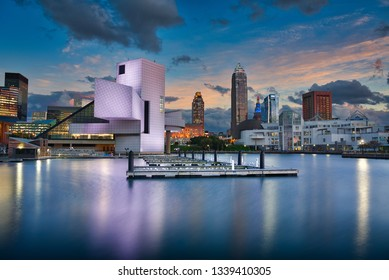 Photo of the Cleveland skyline at the sunset time