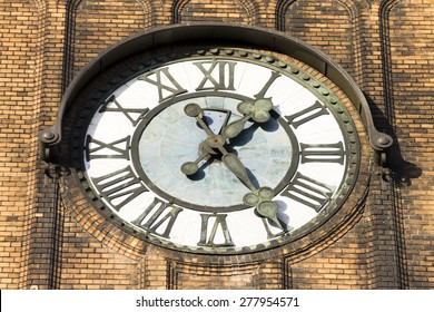 Photo of the clock of the Evangelical Christ' Church is one of the most beautiful buildings in city of Ostrava, serves as main church for two Lutheran churches in the area