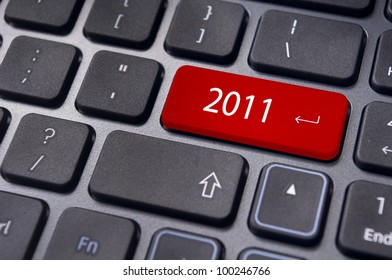 Photo of close up on keyboard pad, for 2011 year conceptual usage.