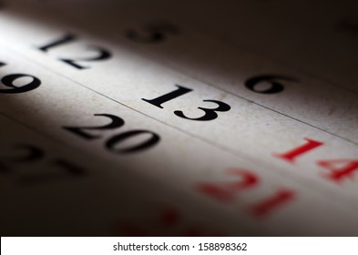 The photo closeup of calendar of 13 friday number