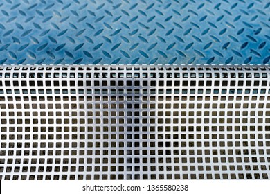 Photo closeup shiny steel aluminum fragment of protective facade structure made of metal plates sheets horizontally assembled textured background