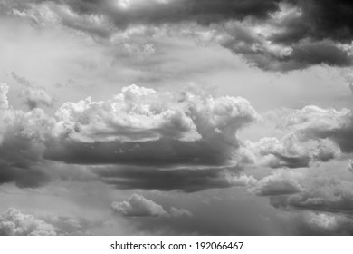 A photo of clouds in black and white.