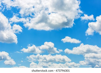 Photo of cloudy blue sky in summertime