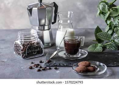 Photo of coffee with milk and homemade cookies. Espresso coffee. Dark background. Image