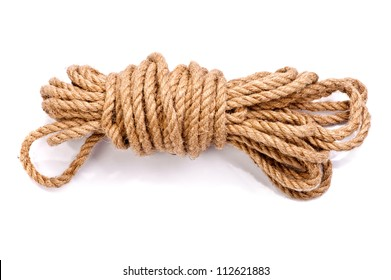 photo of a coil of rope isolated on a white background