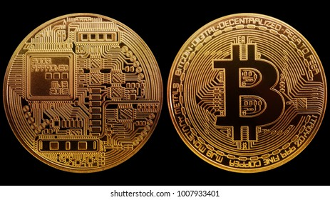 Photo Coin Gold Bitcoin isolated on black background. Concept cryptocurrency in financial world. Banking business.