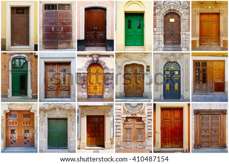 Photo Collage 18 Colorful Front Doors Stock Photo Edit Now