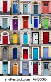A photo collage of 25 colourful front doors to houses and homes