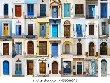 Photo collage of 36 colourful front doors to houses from Karpathos, Greece.