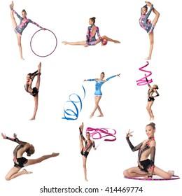 Photo collage. Artistic gymnast posing at camera