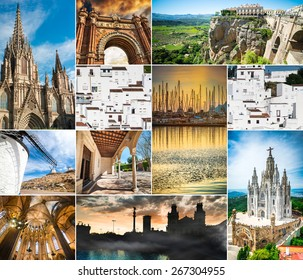 photo collage of beautiful views of Spain