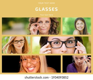 Photo collage Beautiful women in glasses for a poster, advertisement or brochure