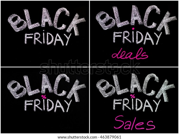 Photo Collage Black Friday Advertisement Handwritten Stock Photo Edit Now 463879061