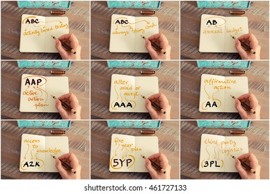Photo collage of business acronyms and messages. Retro effect and toned image of a woman hand writing a note with a fountain pen on notebook. Business success concept