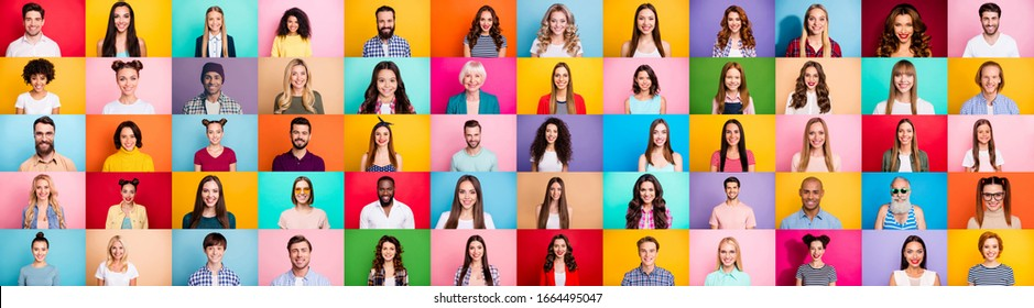 Photo collage of cheerful excited glad optimistic crowd of different human have toothy beaming smile wear casual clothes isolated over bright multicolored background - Shutterstock ID 1664495047