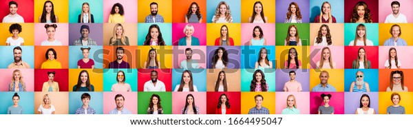 Photo collage of cheerful excited glad optimistic crowd of different human have toothy beaming smile wear casual clothes isolated over bright multicolored background