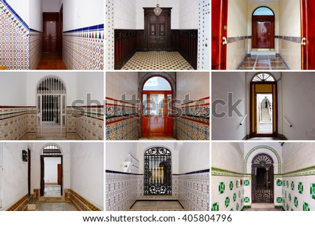 Photo Collage Colorful Front Doors Spanish Stock Photo Edit Now