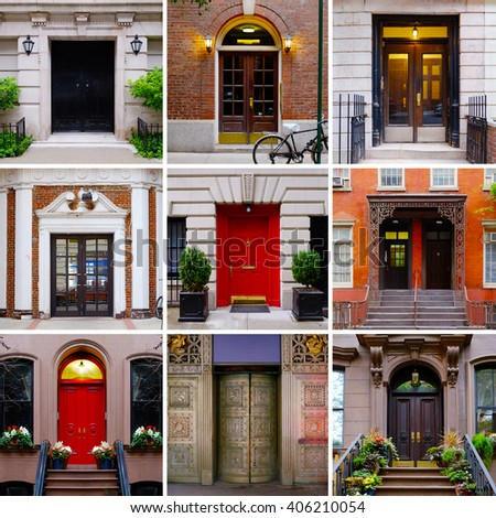 Photo Collage Colorful Front Doors Manhattan Stock Photo Edit Now