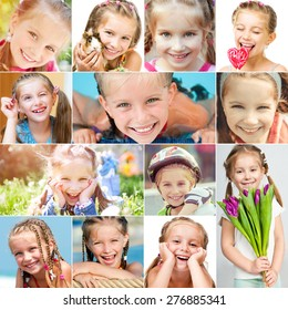 photo collage of a cute little girl in a good mood
