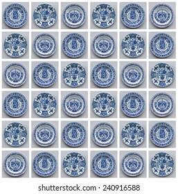Photo collage of decorated old Delft blue wall plates.