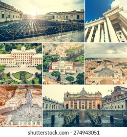 photo collage of different views of Vatican