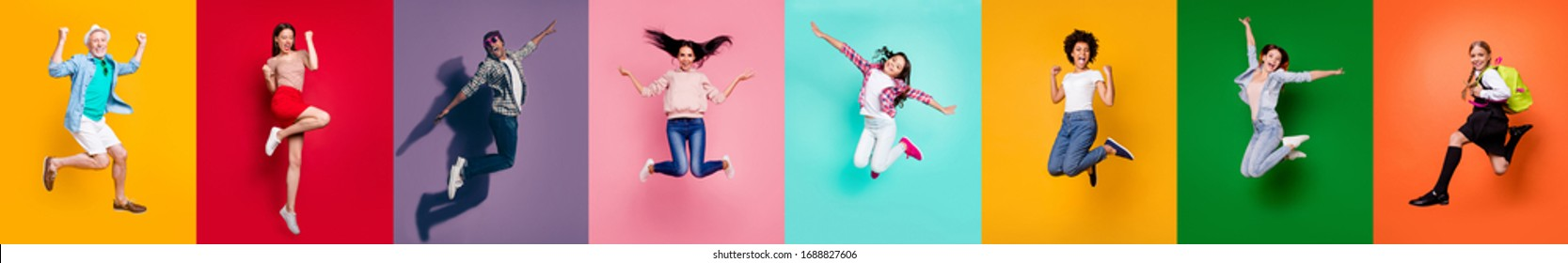 Photo collage of eight cheerful glad optimistic carefree feeling great old preteen multiethnic guy millennial people jumping high up achieving victory triumph isolated over multicolored background