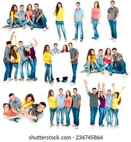 photo collage of four students are isolated on a white background