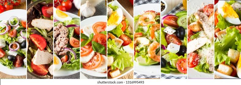Photo of collage of fresh salads. Healthy food concept. Diet food. Greek, Caesar, shrimp, caprese salad.