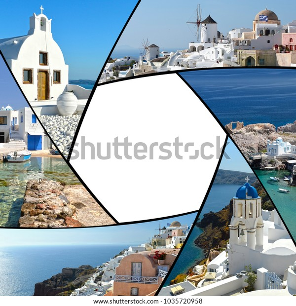 Photo Collage Greece Greek Islands Santorini Stock Photo