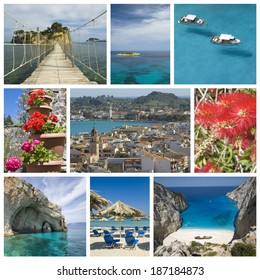 Photo collage from Greek island on Ionian Sea - Zakynthos. Collage includes most famous places of the island.