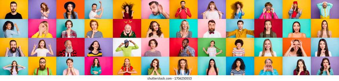 Photo collage of group of glad cheerful excited astonished funky scared surprised people person youngsters children having bright facial expressions isolated over multicolored background - Shutterstock ID 1706250553