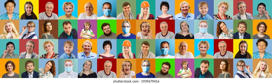 Photo collage of group of glad cheerful surprised people person youngsters children having bright facial expressions isolated over multicolored background
